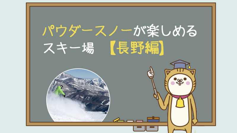 パウダースノーが楽しめるスキー場【長野編】