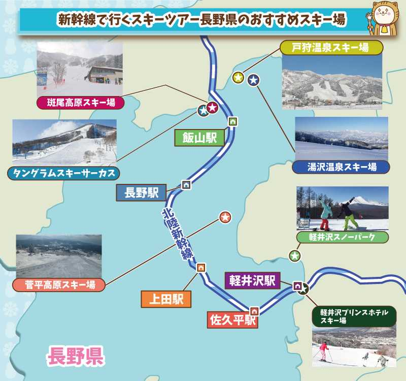 新幹線で行く長野県のスキー場